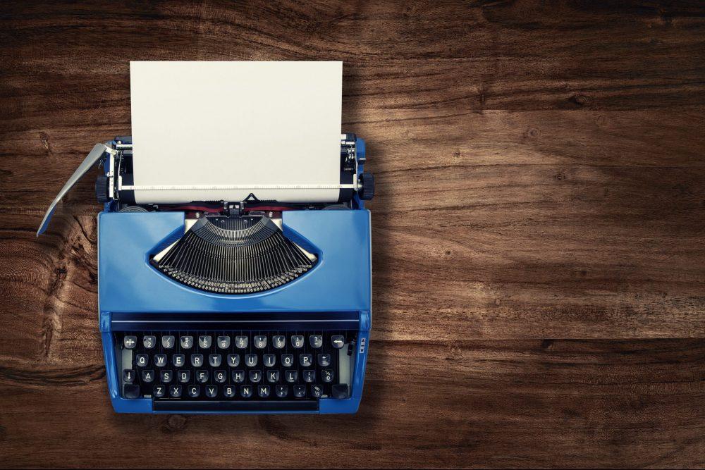 above blue typewriter