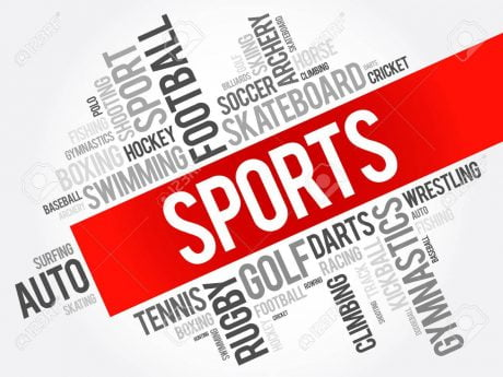 Sports word cloud collage, hobbies and leisure concept background