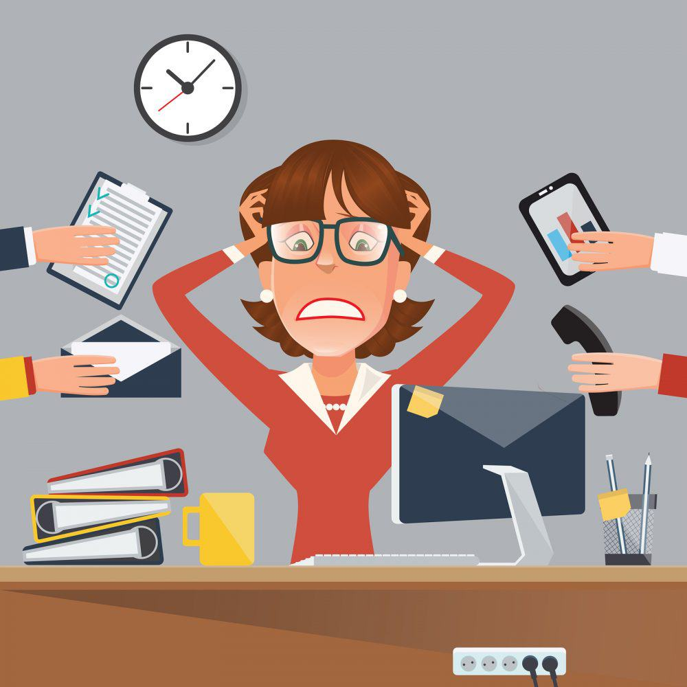 Multitasking Stressed Business Woman in Office Work Place. Vector illustration